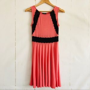 Soprano Coral Pink Black Lace Fit & Flare Dress